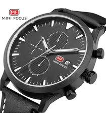 reloj para hombre/correa de piel/ mini focus / 0015g /-negro
