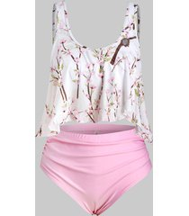 plus size peach blossom overlay tankini swimsuit
