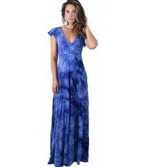 vestido largo mangas azul lente ly maria paskaro
