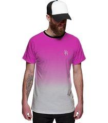 camiseta di nuevo masculina rosa choque e branco degradê style