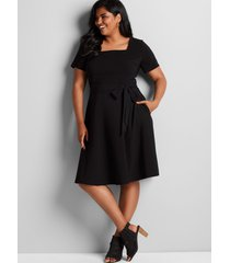 lane bryant women's lena square-neck fit & flare dress 22 black