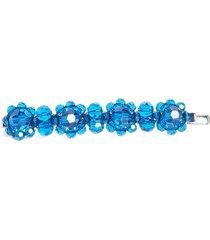 simone rocha little flower beaded hair clip, size one size - blue