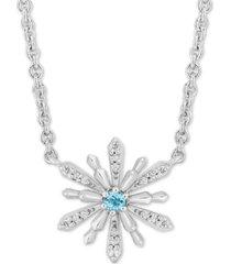 "enchanted disney aquamarine (1/20 ct. t.w.) & diamond (1/10 ct. t.w.) elsa snowflake 18"" pendant necklace in sterling silver"