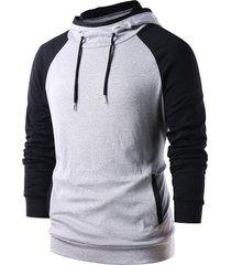raglan sleeve color block pullover hoodie
