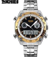 exhibición doble del reloj de la correa de acero de-dorado