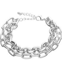 bracciale in acciaio multicatena a maglie larghe per donna