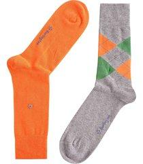 burlington socks everyday mix 2-pack   grey/orange   21044-3390