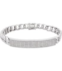 men's black diamond pave link bracelet (1/2 ct. t.w.) in sterling silver (also available in white diamonds)