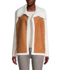 saks fifth avenue women's faux shearling vest - cognac - size l/xl
