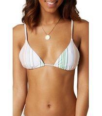 o'neill cayo beach stripe bikini top, size x-large in multi beach stripe at nordstrom