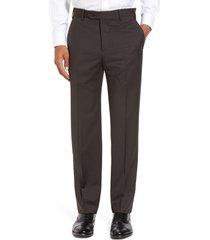 men's zanella devon flat front classic fit solid wool serge dress pants, size 35 - brown
