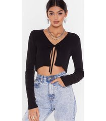 womens we all love a tie-r ribbed cropped cardigan - black