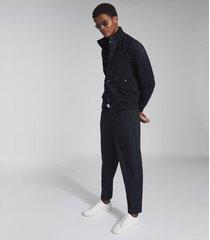 reiss angel - suede button through jacket in navy, mens, size xxl