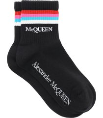 alexander mcqueen stripe sports socks