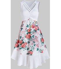 flower print criss-cross ruched sleeveless dress