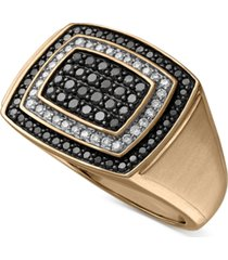 men's black & white diamond ring (1 ct. t.w.) in 10k gold