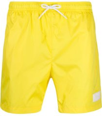 dondup logo patch swim shorts - amarelo