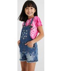 short embroidered denim overalls - blue - 13/14
