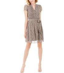 msk petite floral-print pintucked dress