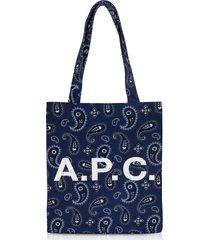 a.p.c. designer handbags, paisley printed canvas lou tote bag