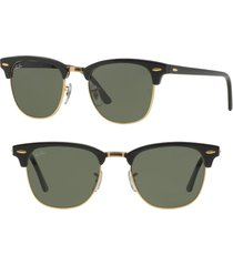 ray-ban 'clubmaster' 49mm sunglasses in black/gold at nordstrom