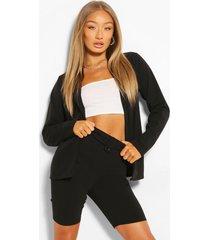 oversized blazer city short suit set, black