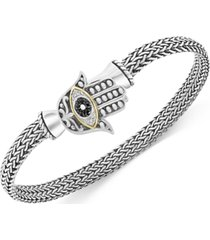 effy black diamond hamsa hand mesh bracelet (1/20 ct. t.w.) in sterling silver & 18k gold-plate