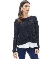 sweater chenille blusa mujer negro corona