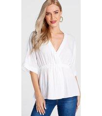 blusa de manga larga con cuello en v profundo fruncido blanco