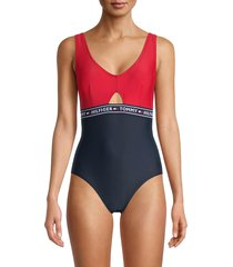 tommy hilfiger women's elastic logo one-piece swimsuit - navy red - size xs