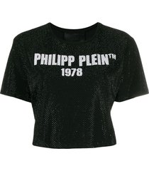philipp plein ss -23 crystal crop t-shirt - black
