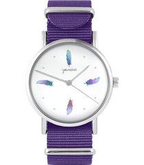 zegarek - turkusowe piórka - fiolet, nylonowy
