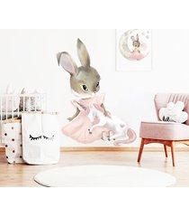 pastelowy króliczek jednorożec naklejka