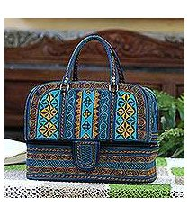 cotton travel bag, 'teal sultanate' (indonesia)