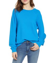 women's hudson jeans raglan sleeve french terry pullover, size x-small - blue