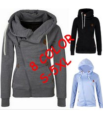 women's sports personality side zipper hooded cardigan sweater jacket sportwear