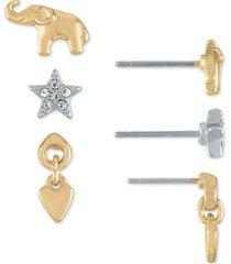 rachel rachel roy two-tone 3-pc. set elephant & star stud earrings