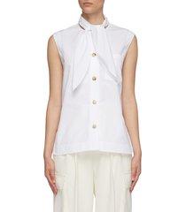 sleeveless tie neck cotton poplin shirt