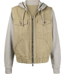 balmain contrast panel hooded jacket