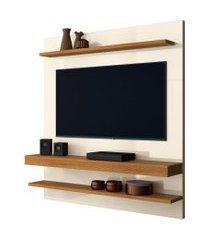 painel home suspenso para tv até 55 polegadas sala de estar web new off white/coral - frade movelaria