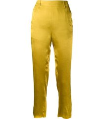 ann demeulemeester cropped satin trousers - green