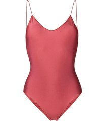 oséree lace spaghetti strap swimsuit - red