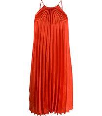 stella mccartney tie-side pleated dress - red