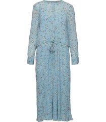 annabel flower jurk knielengte blauw line of oslo