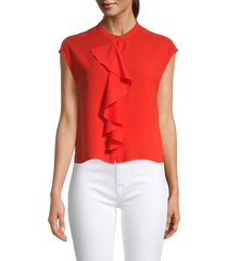 french connection women's elna ruffled top - poppy red - size 4