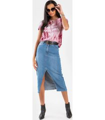 sedonai front slit denim midi skirt - medium wash