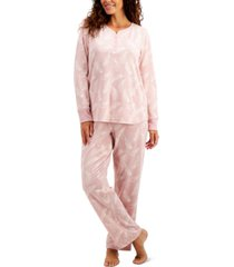 charter club thermal fleece printed pajama set, created for macy's