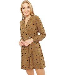 vestido vero moda corto marrón - calce regular