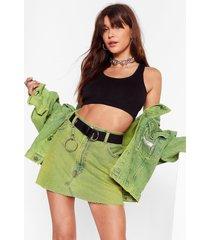 womens vintage dye-ing to see ya denim skirt - lime