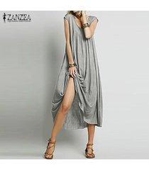 zanzea vendimia verano de las mujeres largas flojas tapas de la camisa holgada túnica del vestido maxi de boho -gris claro